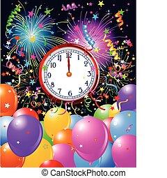 année, minuit, fond, horloge, nouveau