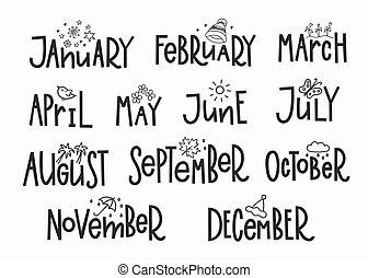 année, mois, calendrier, typographie, lettrage