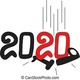 année, nouveau, 2020