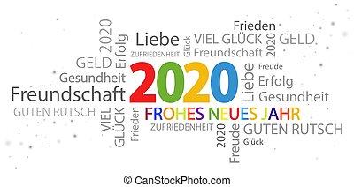 année, nouveau, 2020, salutations, mot, nuage