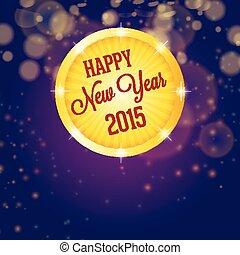 année, nouveau, cercle, briller, 2015, heureux