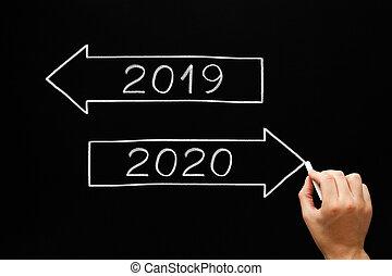 année, nouveau commencement, 2020, flèches, concept