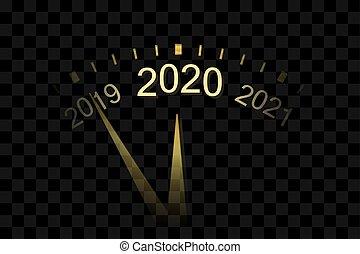 année, nouveau, conception, poster., en-tête, or, vecteur, fête, isolé, noël, doré, illustration, transparent, 2020., décoration, noir, bannière, horloge, card., heureux, arrière-plan., gabarit, flèches, vacances, célébration