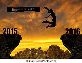 année, nouveau, girl, sauts, 2016