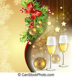 année, nouveau, lunettes champagne
