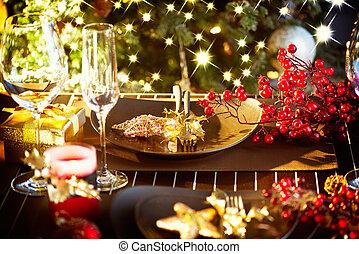 année, nouveau, table, setting., vacances, noël celébration