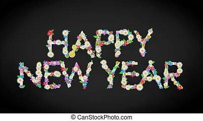 année, nouveau, texte, heureux, floral, fond