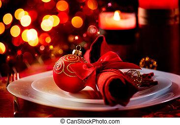 année, nouveau, vacances, noël, table, setting., célébration