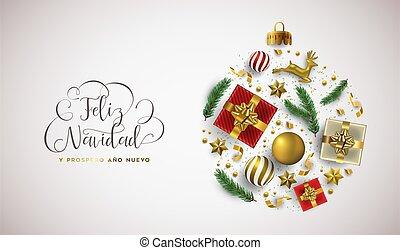 année, or, espagnol, ornement, noël carte, noël, nouveau