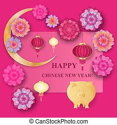 année, papier, nouveau, 2019, jaune, chinois, pig., fleurs, lanterns., la terre