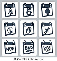 année, paques, holidays:, icônes, rue., mère, patrick's, ...