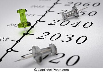 année, siècle, 21th, ligne, temps, 2030
