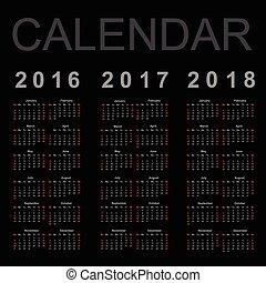 année, vecteur, 2016, 2018, calendrier, 2017