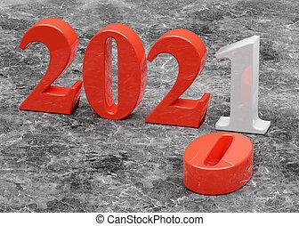 année vieille, remplace, 2020, nouveau, 2021