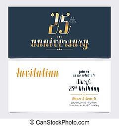 années, 25, vecteur, anniversaire, invitation