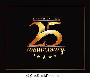 années, 25e, célébration anniversaire, design.