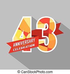 années, anniversaire, celebration., 43rd