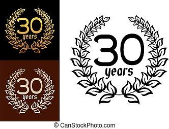 années, couronnes, anniversaire, 30