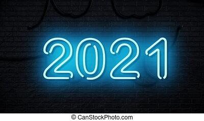 années, heureux, animation, nouveau, 2021, néon, fond, fait ...