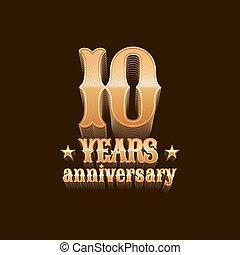 années, logo, vecteur, anniversaire, 10