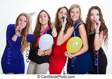 années, nouveau, célébrations, veille, fête