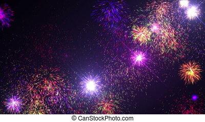années, nouveau, feux artifice, veille, 4k