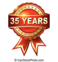années or, anniversaire, 35, étiquette