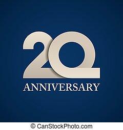 années, papier, 20, nombre, anniversaire