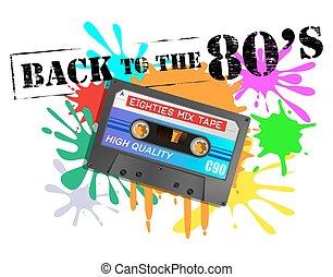 années quatre-vingts, fond, cassette, dos