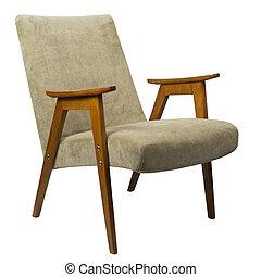 années soixante-dix, fauteuil, brun, isolé, velours, vendange