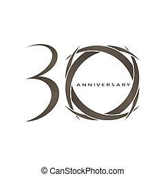 années, vecteur, anniversaire, 30
