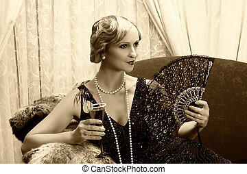 années vingt, sépia, cocktail