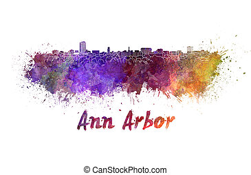 Ann Arbor skyline in watercolor splatters with clipping path