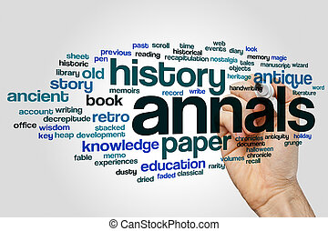 Annals word cloud concept on grey background
