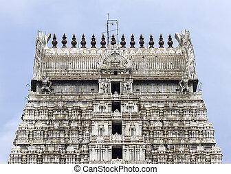 Annamalaiyar Temple, top of eastern gopuram in...