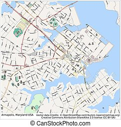 Annapolis Maryland USA city map aerial view