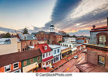 Annapolis, Maryland, USA downtown view over Main Street with the State House