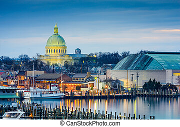 Annapolis Skyline - Annapolis, Maryland, USA town skyline at...