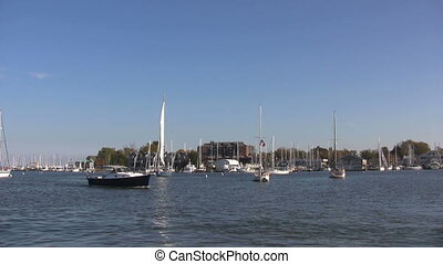 Annapolis Yacht Basin - Powerboat moves through the water in...