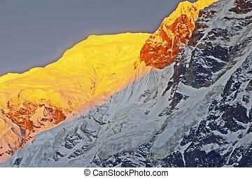 annapurna, 喜马拉雅山, 范围, 威严, 日出, 光, 首先