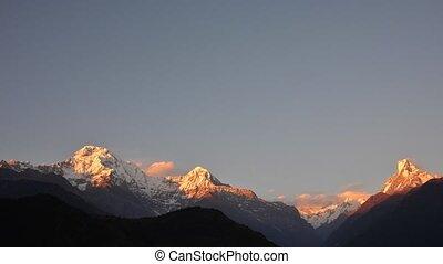 Annapurna range sunset timelapse - Timelapse of the...