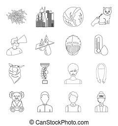 annat, skönhet, kemi, djur, ikon, teknologi, nät, veterinär, sätta, collection., skissera, style., sport, ikonen