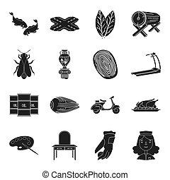 annat, transport, resa, svart, ikon, nät, konst, sätta, collection., fitness, style., sport, ikonen, yrke