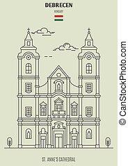 anne, s., debrecen, señal, catedral, hungary., icono