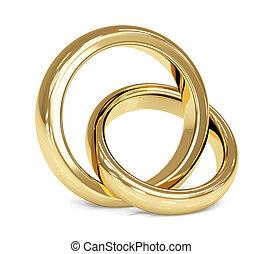 anneau, 3d, deux, or, mariage