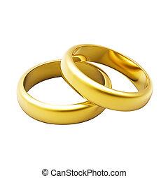 anneau, 3d, or, mariage