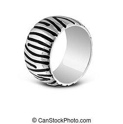 anneau, blanc, rayé, isolé, argent