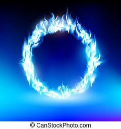 anneau bleu, flamme