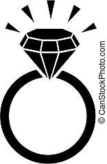 anneau, bling, diamant