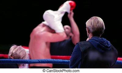 anneau, boxeur, vue, brouillé